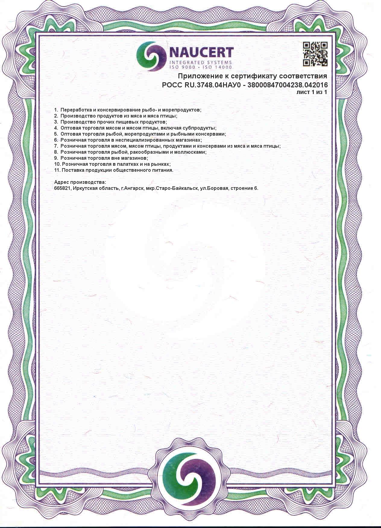 Приложение к ИСО 22001